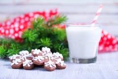 Biscuits avec du lait Photo stock