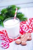 Biscuits avec du lait Images stock