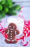 Biscuits avec du lait Photo libre de droits