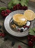 Biscuits avec la mûre, les écrous et le miel image stock