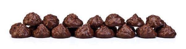 Biscuits avec la pleine rectification de chocolat images stock
