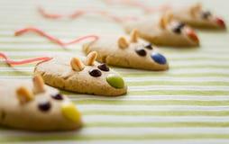 Biscuits avec la queue formée et rouge de souris de réglisse Photo libre de droits