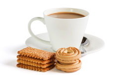 Biscuits avec le cooffee images stock