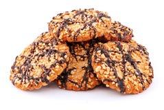 Biscuits avec les noix et le chocolat images stock
