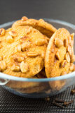 Biscuits background - view of biscuits with almonds Stock Image