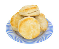 Biscuits on blue striped plate Royalty Free Stock Photos