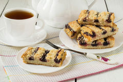 Biscuits with blueberry jam Stock Image