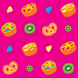 Biscuits Bright Seamless Pattern Stock Photography