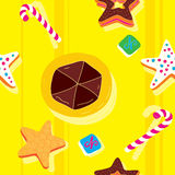 Biscuits Bright Seamless Pattern Stock Images