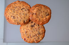 Biscuits bruns faits maison sur un fond en verre gris Photos stock