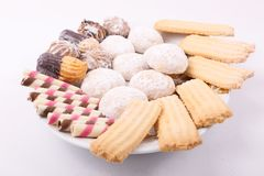 Biscuits, cakes and petits fours. Cakes, biscuits, candies and petits fours presented in a dish Stock Photography