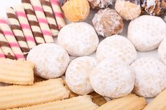 Biscuits, cakes and petits fours close up. Cakes, biscuits, candies and petits fours presented in a dish Royalty Free Stock Photography