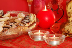 Biscuits and candles Royalty Free Stock Photo