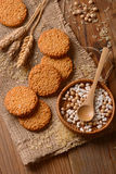 Biscuits on cereals and rice Stock Image