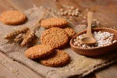 Biscuits on cereals and rice Stock Images