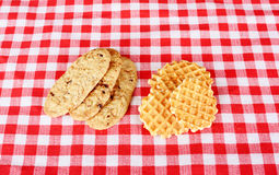 Biscuits on checkered cloth Royalty Free Stock Photo