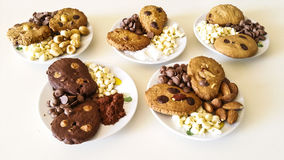 Biscuits. Chocolate chips, almonds, hazelnuts, coconut Stock Images