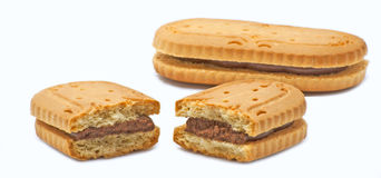 Biscuits with chocolate cream Royalty Free Stock Images
