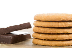 Biscuits with chocolate Stock Photos
