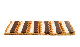 Biscuits with chocolate milk filling isolated Stock Image