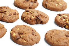 Biscuits with chocolate and nuts Stock Photos