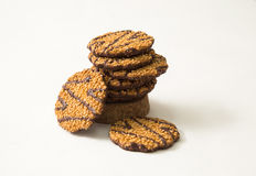 Biscuits with chocolate on white background Royalty Free Stock Photos