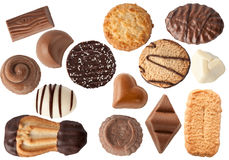 Biscuits and chocolates. Different types of biscuits and chocolates isolated Royalty Free Stock Images