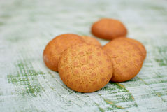 Biscuits. Close up of round shaped sweet biscuits Stock Photography