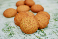 Biscuits. Close up of round shaped sweet biscuits Stock Images