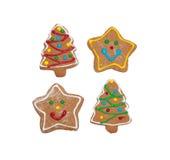 Biscuits colorés de pain d'épice sur le blanc photographie stock libre de droits