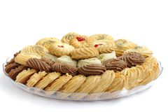 Biscuits and cookies kept in a plate Royalty Free Stock Photo