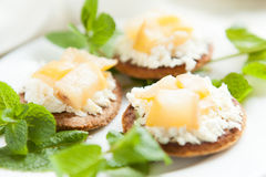 Biscuits with cottage cheese and pear Stock Images