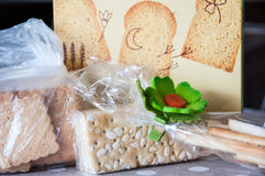 Biscuits, crackers and bread sticks Royalty Free Stock Images