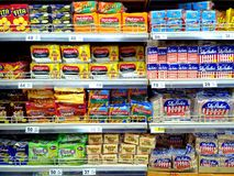 Biscuits and crackers sold in a grocery royalty free stock images