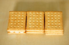 Biscuits cream filling Royalty Free Stock Images