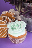 Biscuits and cupcake with green rose Stock Photos