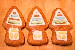 Biscuits décorés colorés de pain d'épice - maisons de Noël Images stock