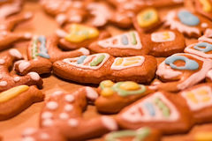 Biscuits décorés colorés de pain d'épice - maisons de Noël, coeurs, escargot, ours Photos libres de droits