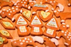 Biscuits décorés colorés de pain d'épice - maisons de Noël, coeurs, ours Photographie stock