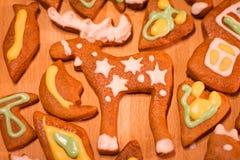 Biscuits décorés colorés de pain d'épice - orignaux de Noël, coeur, lune, poisson Images libres de droits