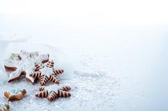 Biscuits délicieux faits maison de pain d'épice de Noël Images stock