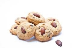 Biscuits d'amande d'isolement sur le blanc Photographie stock libre de droits