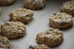 Biscuits d'avoine avec des raisins secs avant boulangerie Nourriture faite maison Fond gris Procédé de cuisson photos libres de droits