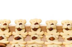 Biscuits d'ours d'amande d'isolement sur le blanc Photos stock