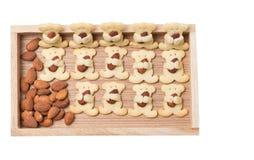 Biscuits d'ours d'amande d'isolement sur le blanc Image libre de droits