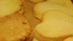 Biscuits dans la boulangerie Fraîchement produits de boulangerie Biscuits cuits au four dans le four Fermez-vous vers le haut du  banque de vidéos