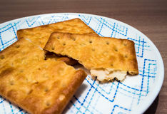 Biscuits dans le plat Photos libres de droits