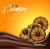 Biscuits de beurre avec du chocolat sur le contexte floral de modèle Conception d'affiche de label, d'emballage ou de publicité Photographie stock
