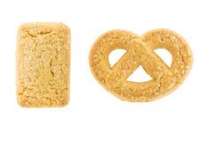 Biscuits de beurre d'isolement sur le fond blanc Photos libres de droits