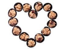 Biscuits de céréale dans la forme d'amour Images libres de droits
